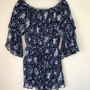American Eagle Navy Blue Floral Romper-Small